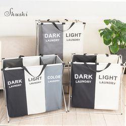 Cesta de la ropa sucia plegable Shushi organizador plegable tres rejilla cesta para la colada de Casa clasificador impermeable cesta de la ropa grande