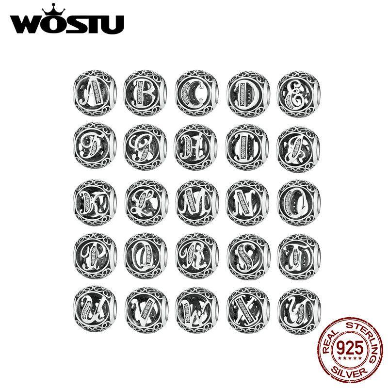 1PC lettre A-Z WOSTU véritable 925 argent Sterling ajouré gothique Vintage clair CZ Alphabet perle charmes Fit Original Bracelet