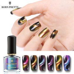 BORN PRETTY Chameleon 3D Cat Eye Nail Polish Magnetic Auroras nail Series 6ml Varnish Magnet Nail Art Lacquer Black Base Needed