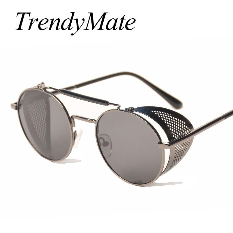 TrendyMate rétro Steampunk lunettes de soleil rond Designer vapeur Punk métal boucliers lunettes de soleil hommes femmes UV400 Gafas de Sol 086M