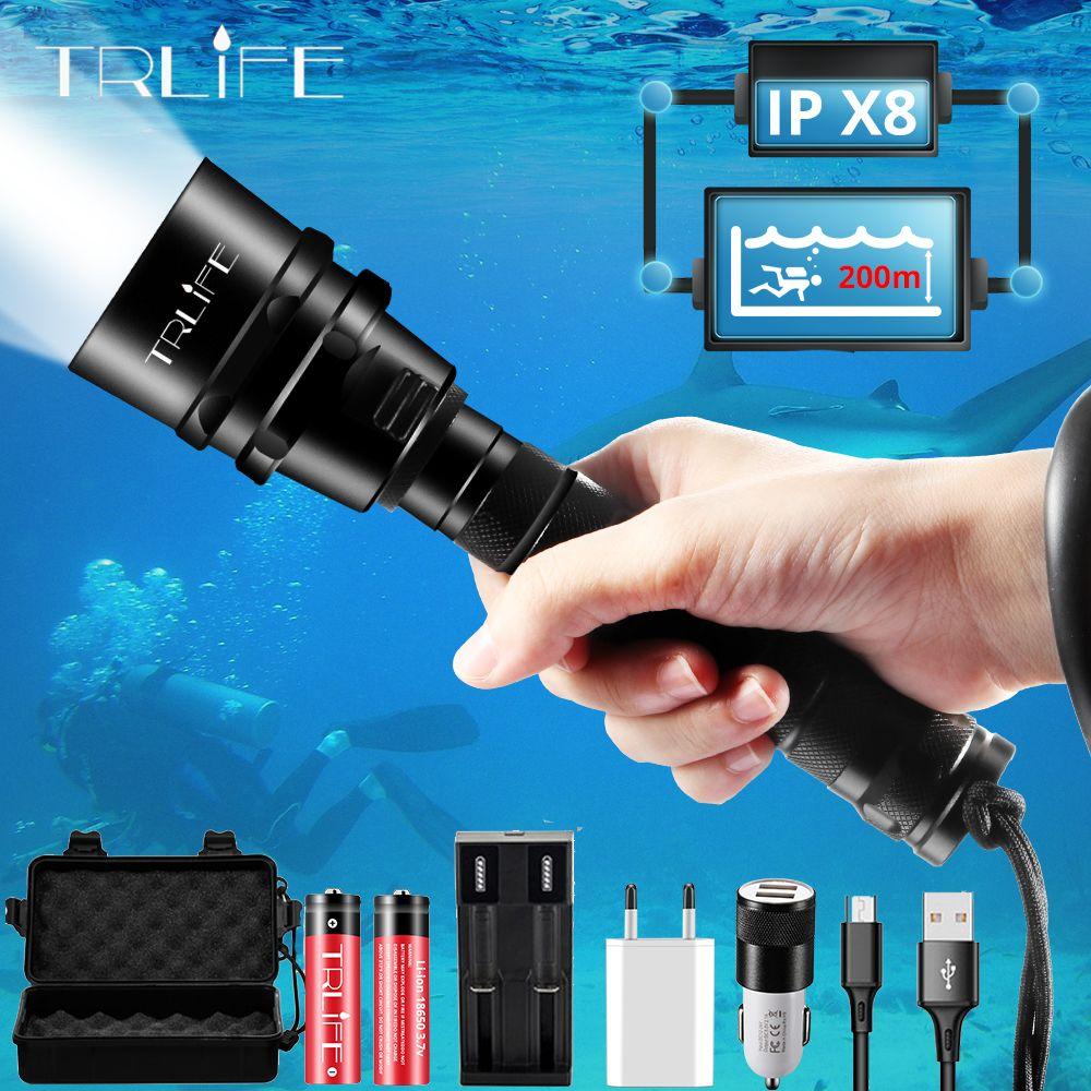Lampe de poche de plongée professionnelle la plus brillante XML T6 L2 torche de plongée Portable 200M sous-marine IPX8 étanche 18650 lampes de poche
