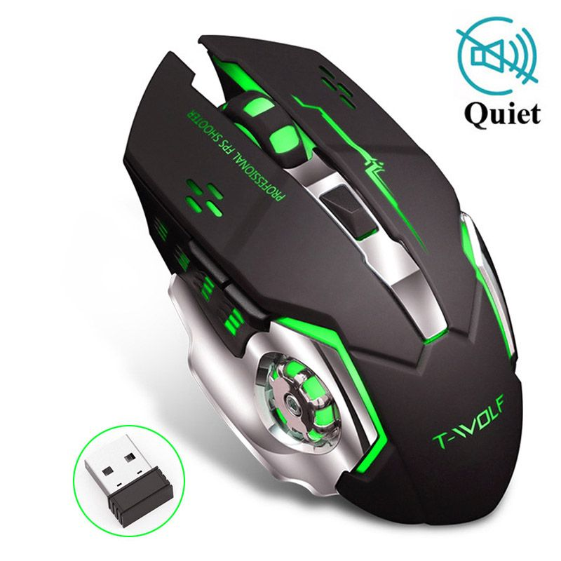 Rechargeable sans fil 2.4GHz LED souris rétro-éclairé USB optique 6 boutons ergonomique souris de jeu silencieuse souris Gamer pour PC ordinateur portable