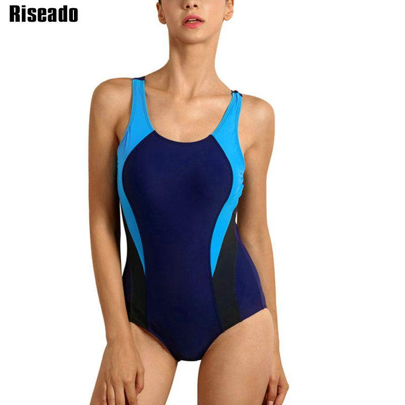 Riseado Sports maillot de bain une pièce 2019 compétition maillots de bain femmes Patchwork maillots de bain pour femmes Racerback maillots de bain