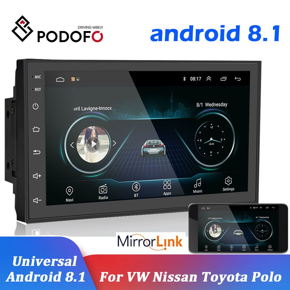 Podofo Car Multimedia Player Andriod GPS Navigation 2DIN HD Autoradio WiFi USB FM 2 Din 7