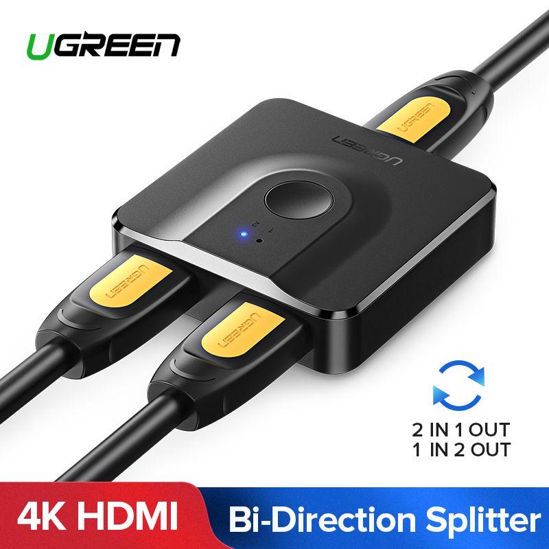 Ugreen HDMI répartiteur 4K HDMI commutateur bi-direction 1x2/2x1 adaptateur HDMI commutateur 2 en 1 pour PS4/3 TV Box HDMI commutateur