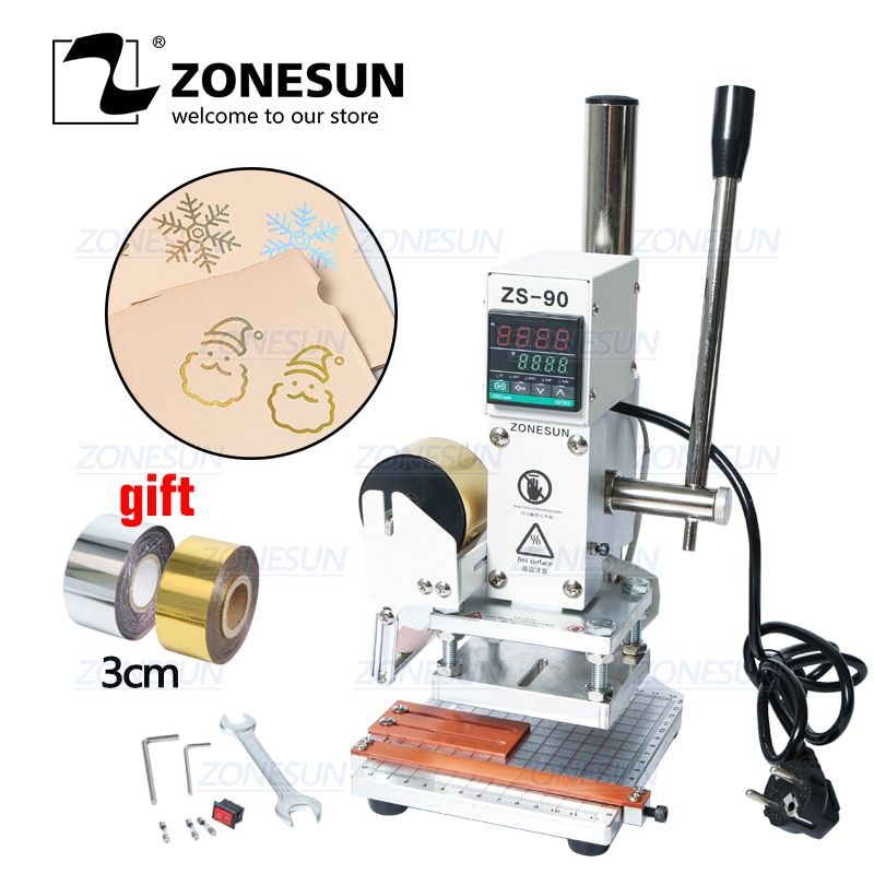 ZONESUN ZS90 manuel numérique PVC carte livre en cuir papier bois Logo personnalisé gaufrage feuille chaude estampage Machine presse à chaud Machine