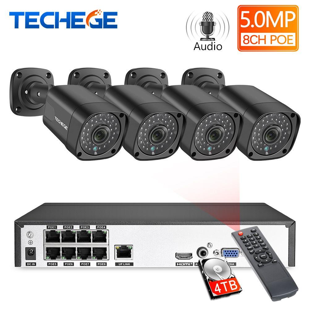 Techege 8CH h.265 5MP 2592x1944 POE sicherheit kamera System Kit Im Freien Wasserdichte Überwachung Kit PoE Überwachung Kit Onvif