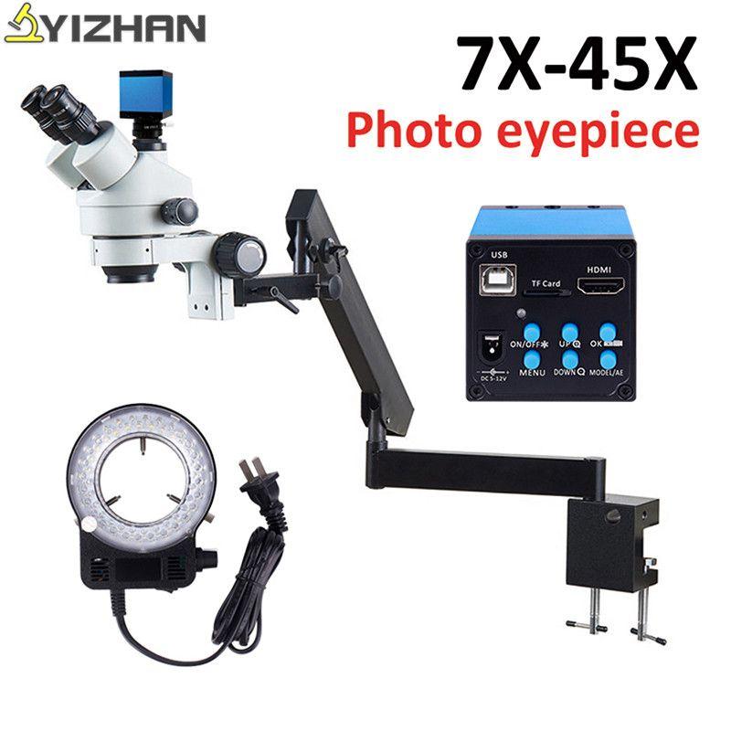 Simul-Focuse Gelenk Arm Stereo Zoom Mikroskop 16MP HDMI Kamera 56 LED Licht trinocular stereo mikroskop stehen 7X-45X