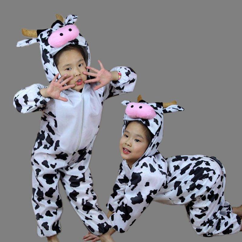 Umorden enfants enfants bambin dessin animé Animal lait vache Costume Performance combinaison Halloween Costumes pour garçon fille