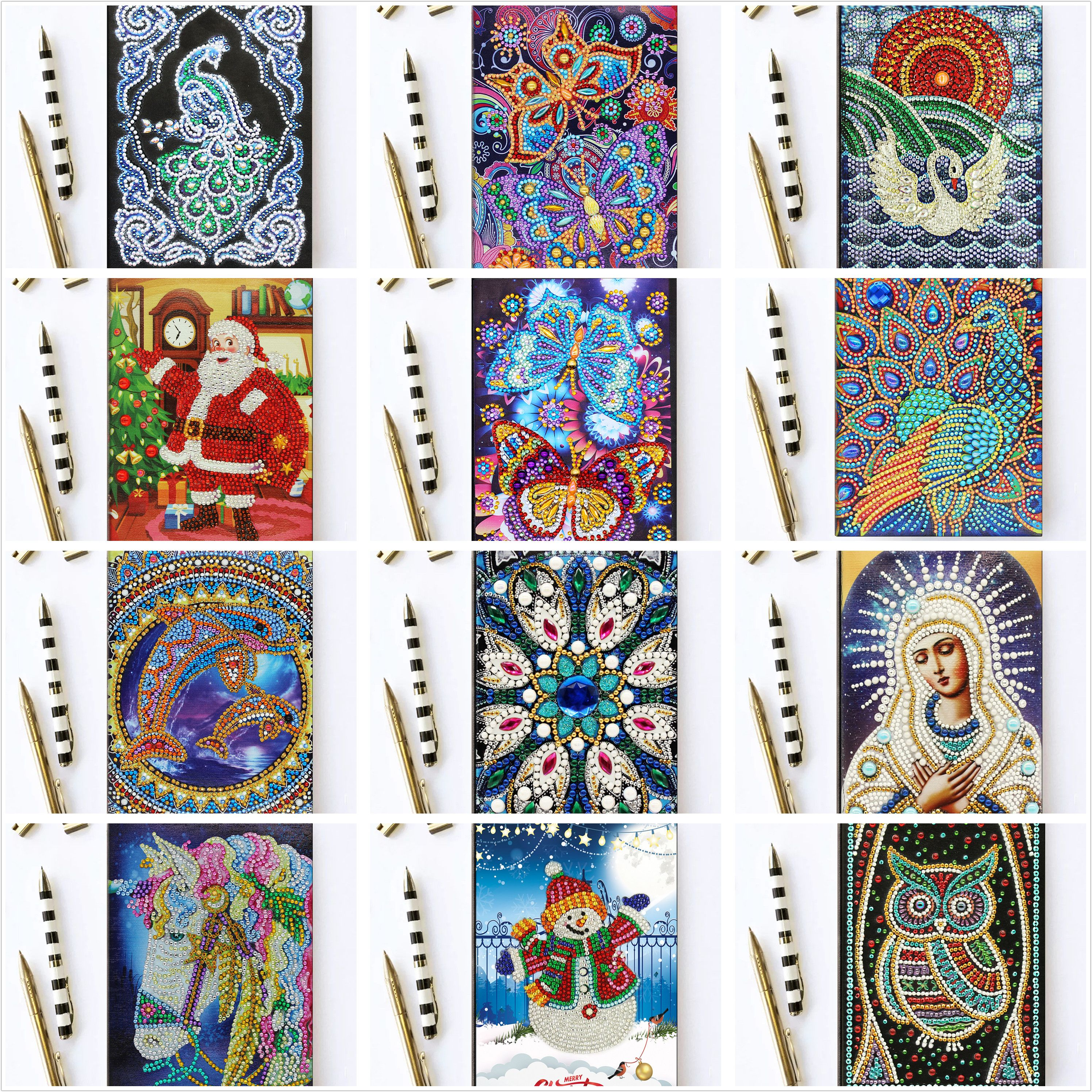 Shirliben Diy Art Diamond Painting Notebook Diary Full Round Diamond Mosaic Embroidery A5 64 Pages Owl Peacock Mandala Butterfly