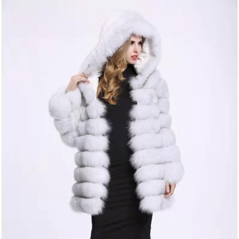 Natürliche foxfur abnehmbare verformung echt fuchs pelz tasche langen mantel weste weste mode dicke warme jacke jacke wolle weste weibliche