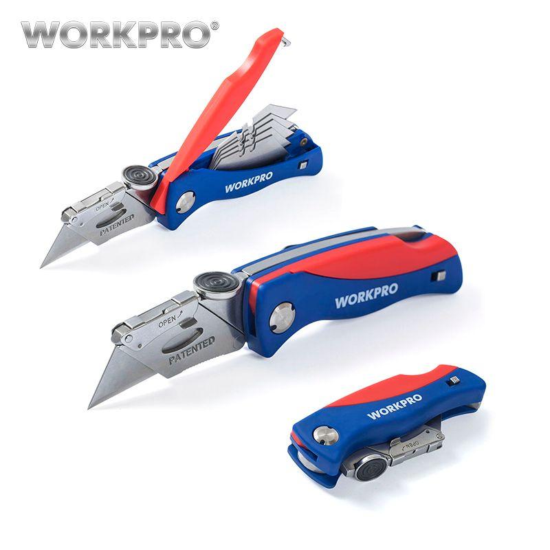 Couteau pliant WORKPRO couteau utilitaire électricien pour couteaux coupe-câble avec 5 lames PC dans la poignée