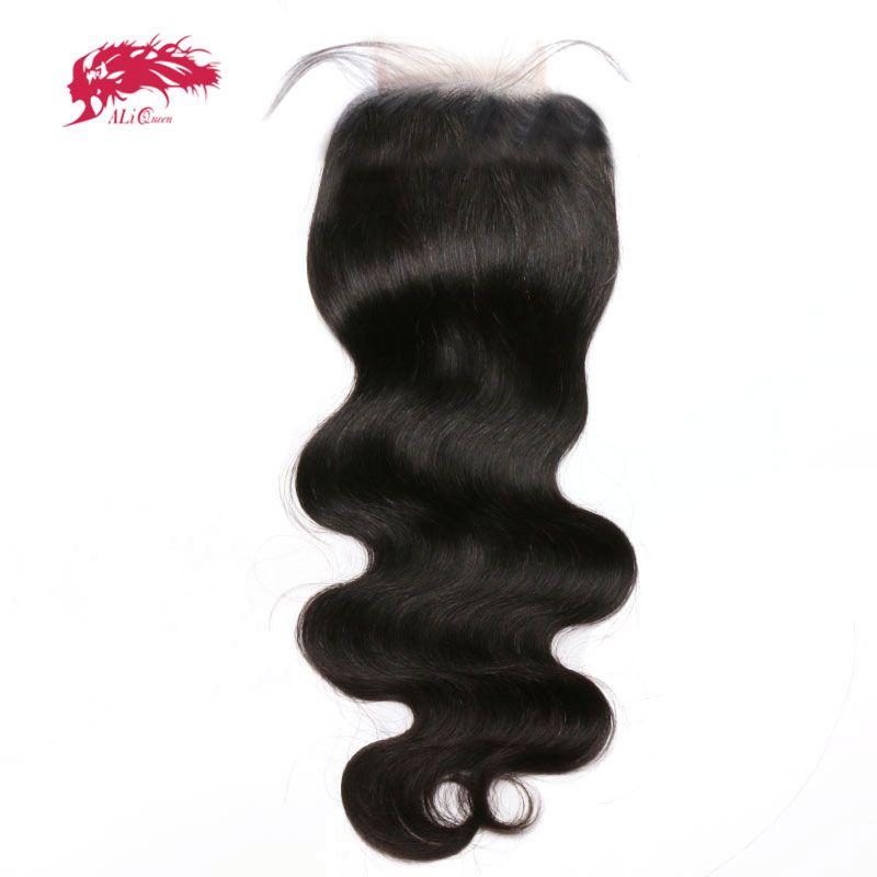 Ali Queen cheveux produits 5x5 Transparent dentelle fermeture pré-plumé avec bébé cheveux brésilien vague de corps vierge cheveux humains fermeture