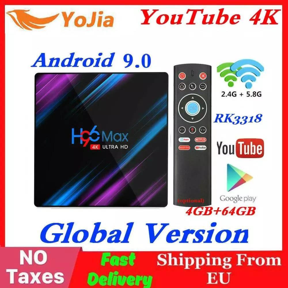 RK3318 H96 MAX Smart TV Box Android 9.0 4GB RAM 64GB ROM 32G 4K WiFi lecteur multimédia Google voix Netflix Youtube 2G16G décodeur