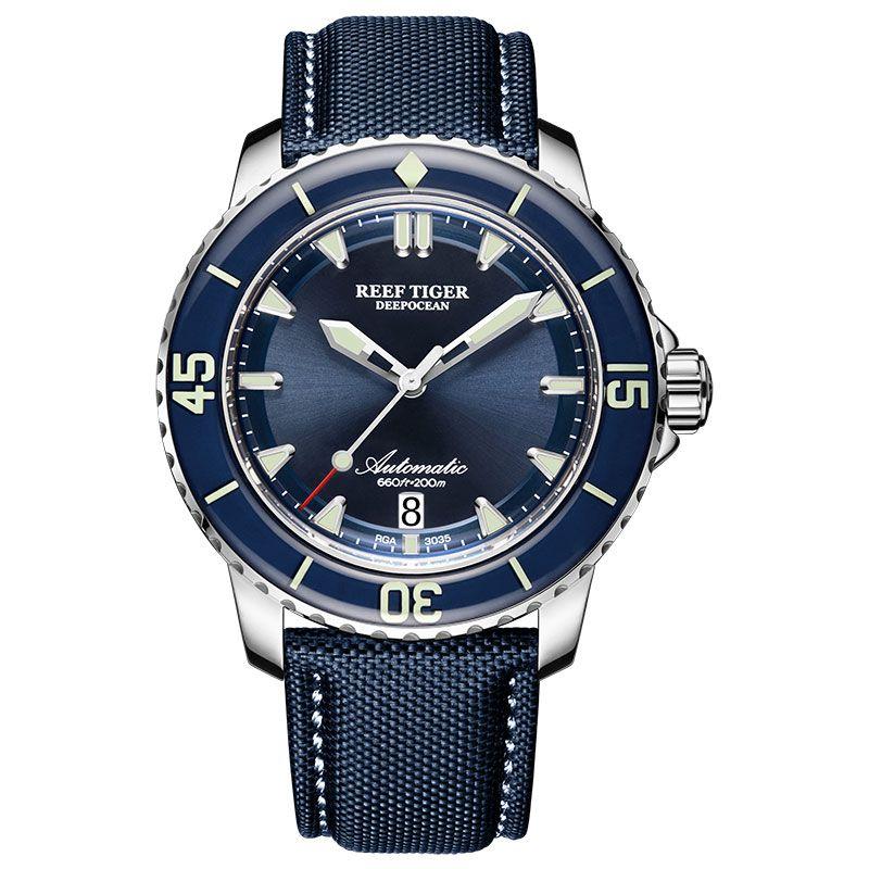 Neue 2019 Riff Tiger/RT Super Leucht Dive Uhren Herren Blau Zifferblatt Analog Automatische Uhren Nylon Strap reloj hombre RGA3035