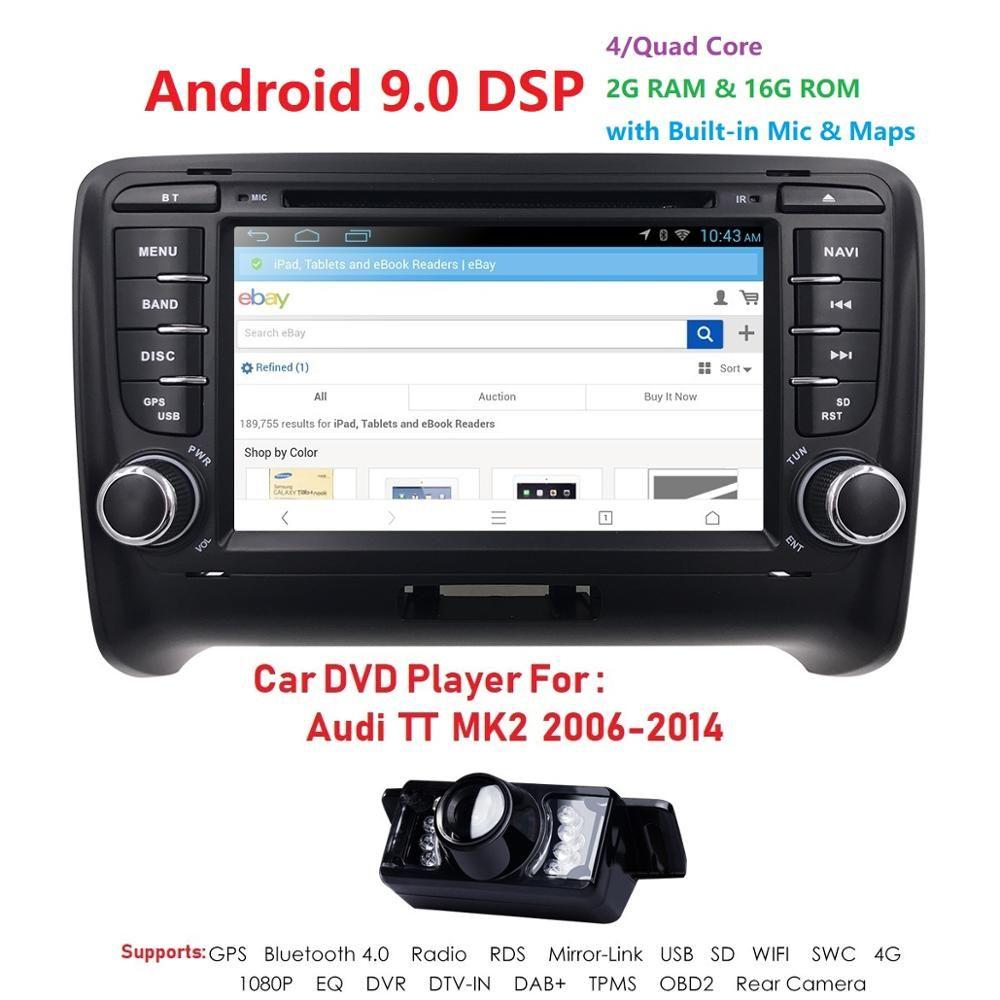 Android 9.0 4-Core Auto Radio Stereo-DVD-Spieler GPS-Navigation Für AUDI TT MK2 TUPFEN OBD2 Bluetooth Steuergerät + rear Kamera + Karte