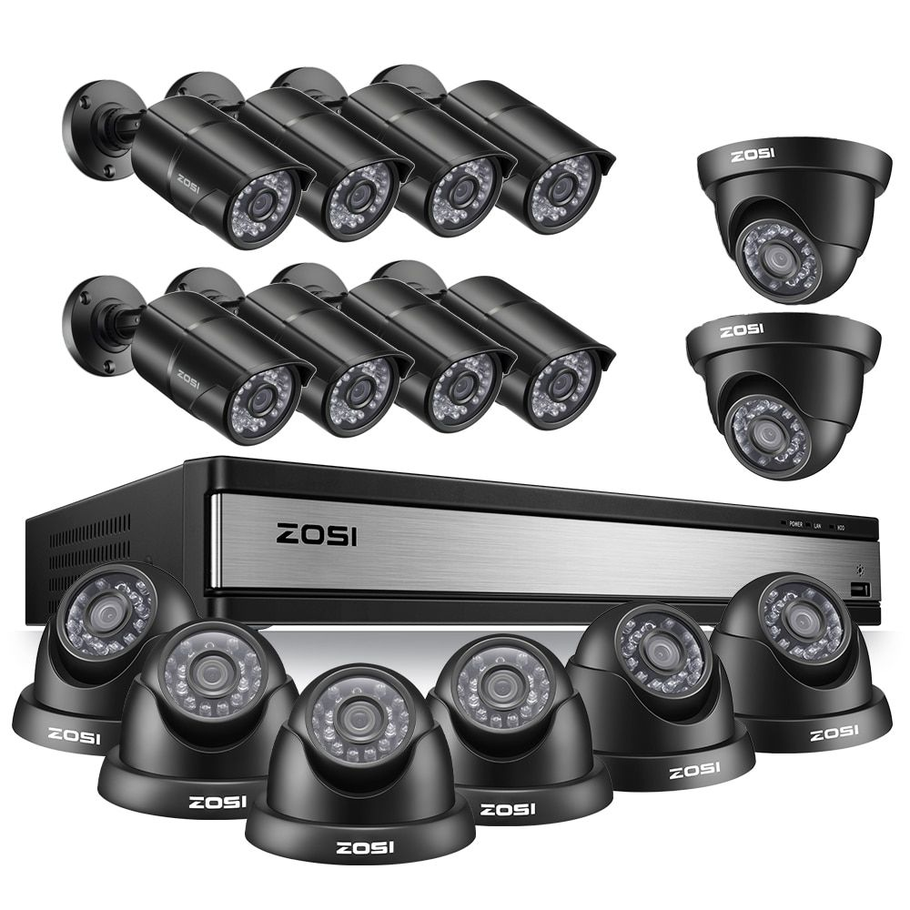 ZOSI Volle HD 1080P 16 CH CCTV Kamera Sicherheit System in Outdoor/Indoor mit 16 PCS Kamera Video überwachung DVR Kit