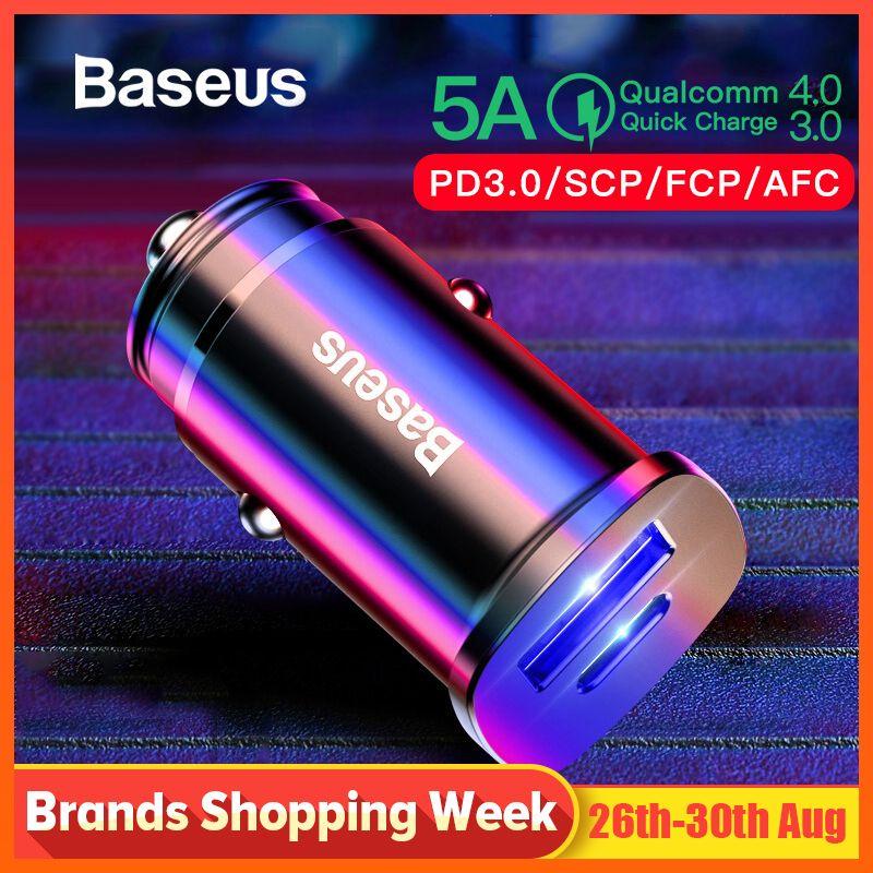 Chargeur de voiture Baseus 30W double USB C PD chargeur rapide QC 4.0 pour chargeur de téléphone portable chargeur rapide USB PD Type C AFC SCP chargeur de téléphone de voiture