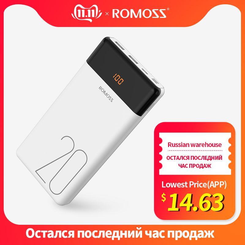 20000mAh ROMOSS LT20 batterie externe double USB Powerbank batterie externe avec affichage LED chargeur Portable rapide pour téléphones Xiaomi