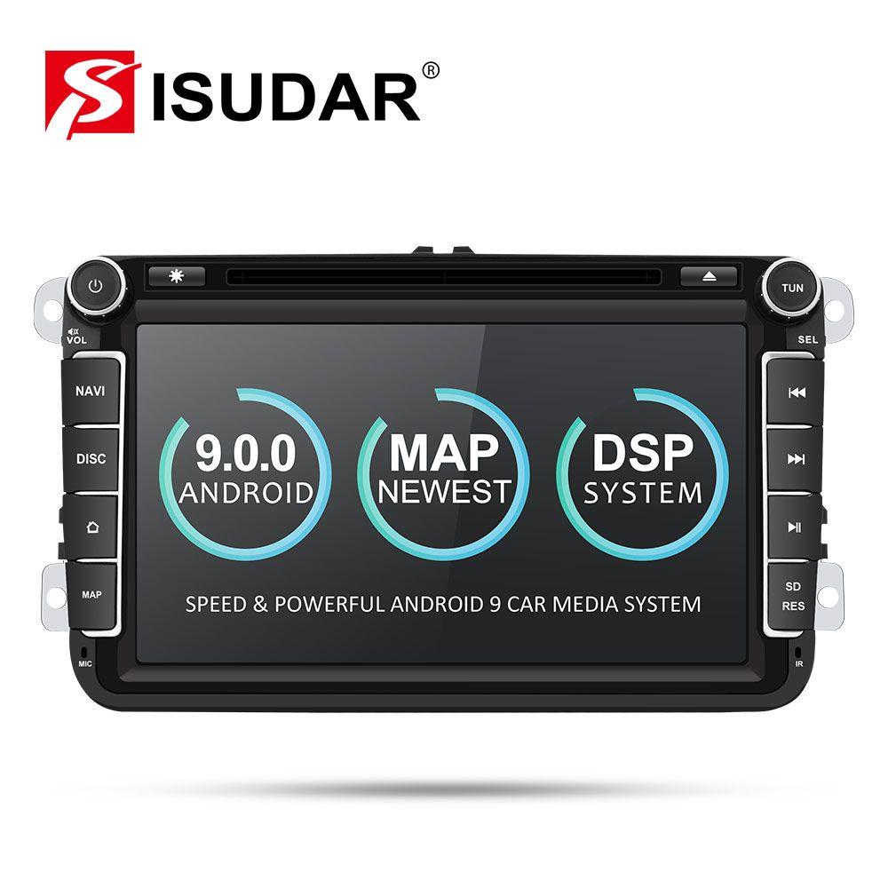 Lecteur multimédia de voiture Isudar deux Din autoradio Android 9 pour Skoda/Seat/Volkswagen/VW/Passat b7/POLO/GOLF 5 6 DVD GPS 4 cœurs
