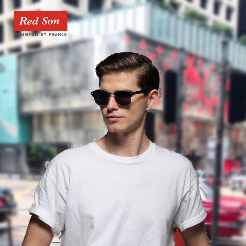 Rouge Son classique lunettes de soleil polarisées femme mâle mode miroir UV400 lunettes de soleil hommes femmes rétro lunettes de soleil design
