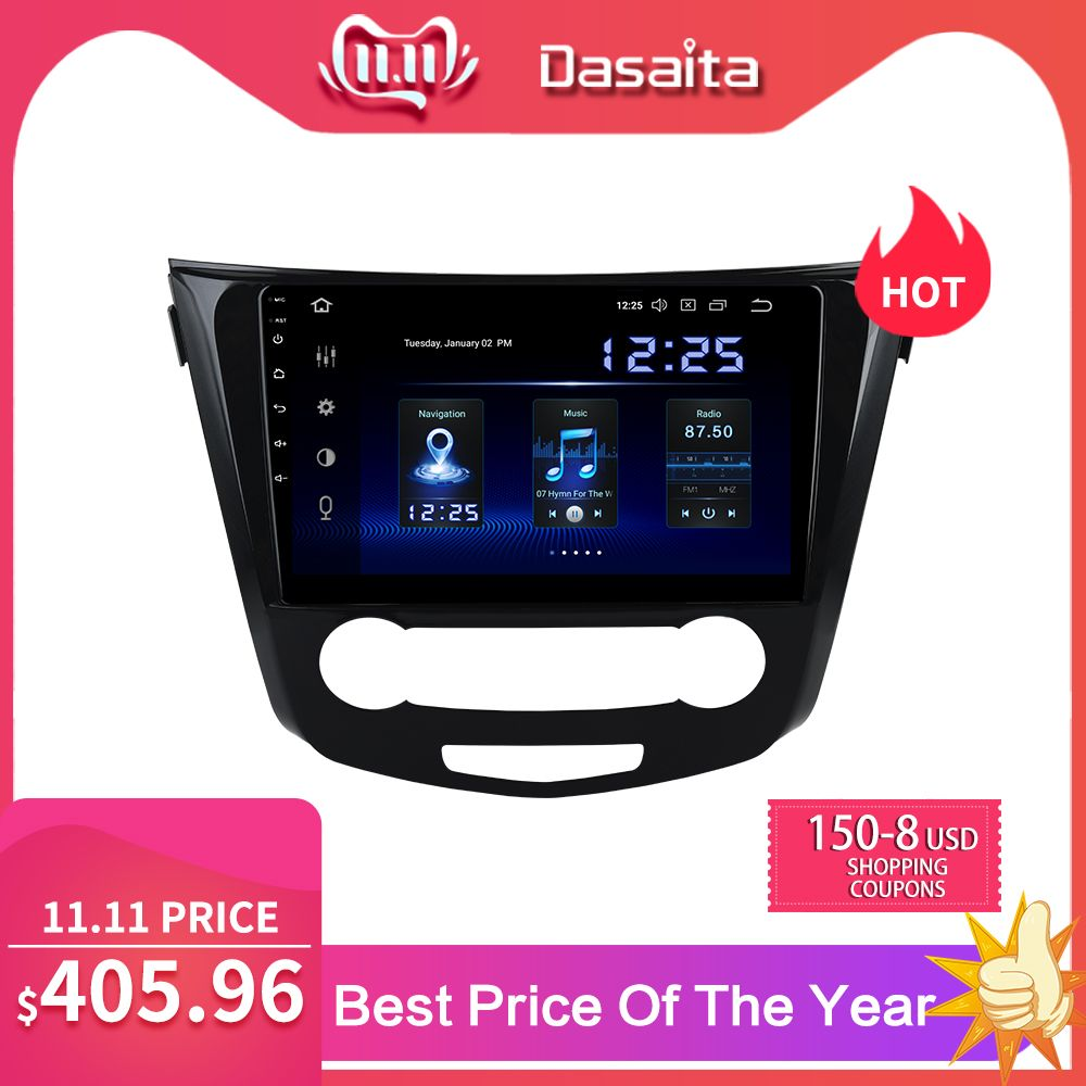 Dasaita 10,2 IPS Touchscreen Auto Radio 1 Din Android 9.0 für Nissan Qashqai 2014 2015 HDMI Auto Stereo Bluetooth 1024*600 MAX6