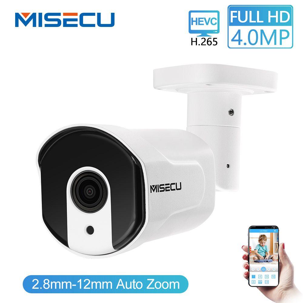 MISECU H.265/H.264 4.0MP Zoom motorisé 48V POE WDR IP Cam 2.0MP tableau nuit IR mouvement détecter RTSP étanche Surveillance CCTV
