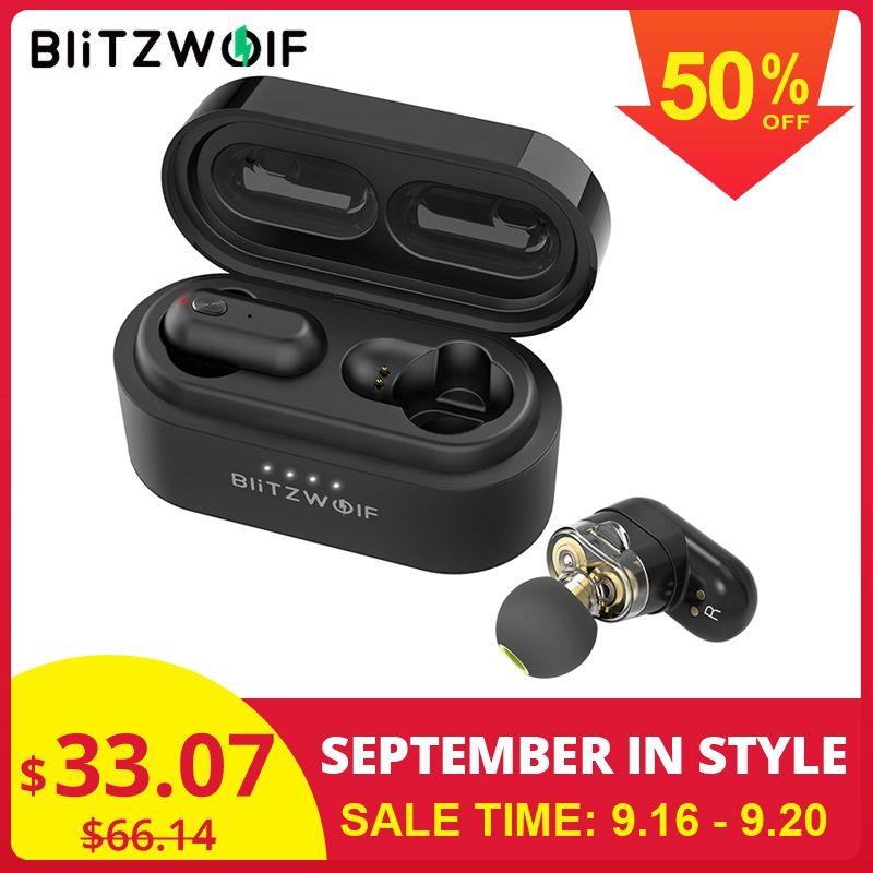 [Double pilote dynamique] Blitzwolf BW-FYE7 TWS Bluetooth 5.0 écouteurs intra-auriculaires basse stéréo écouteurs bilatéraux d'appel avec boîte de charge