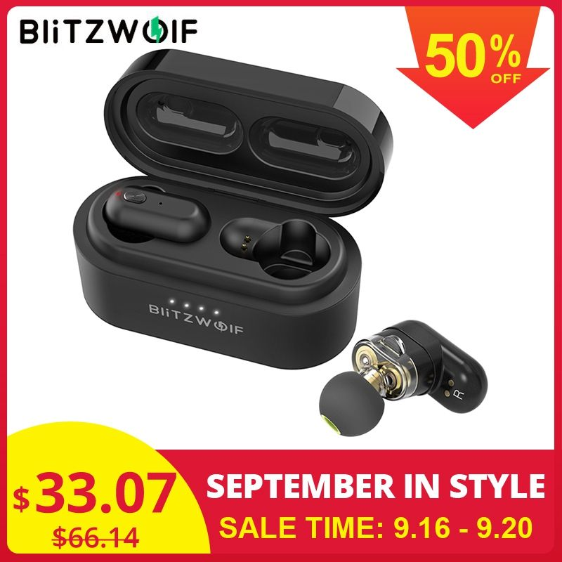 [Dual Dynamic Driver] Blitzwolf BW-FYE7 TWS Bluetooth 5.0 In-ear Earphone Bass Stereo Bilateral Call Earbuds with Charging Box