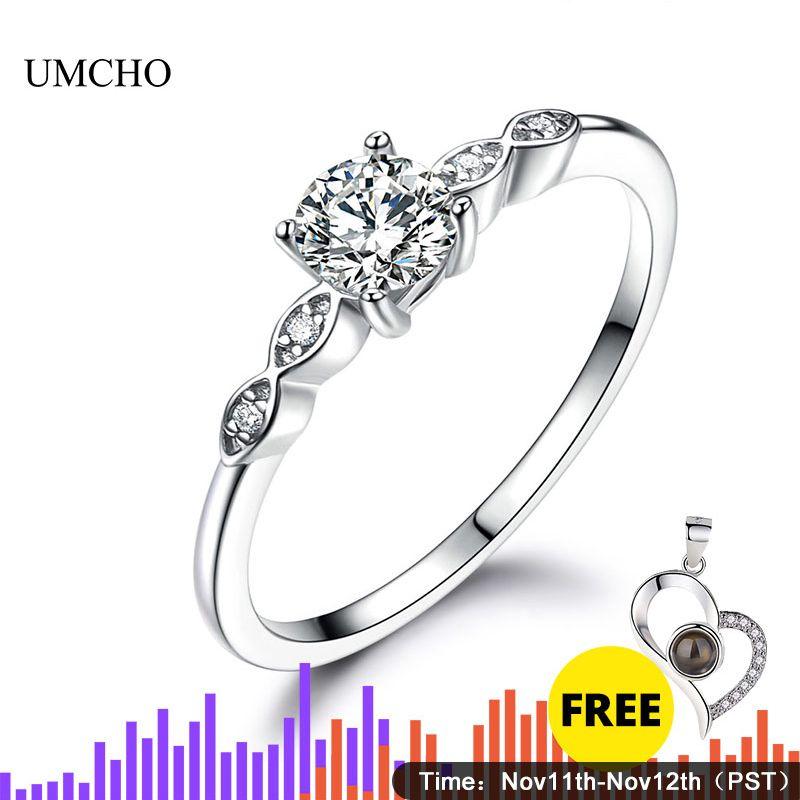 UMCHO argent 925 bijoux de luxe mariée cubique zircon anneaux pour les femmes Solitaire fiançailles mariage bande fête cadeau bijoux nouveau