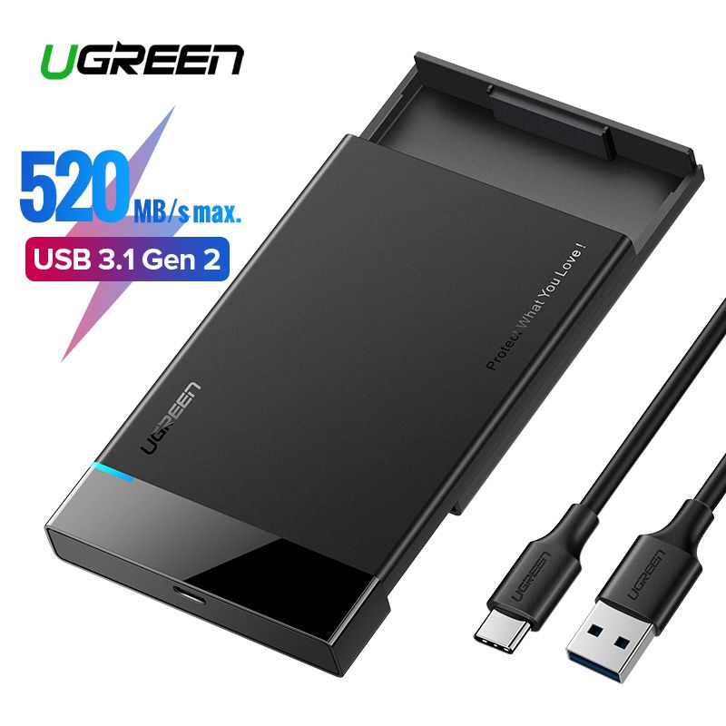 Ugreen HDD Case For Hard Drive Box 2.5 Hard Disk Case HD SSD SATA to USB 3.0 3.1 6G Type C HDD Enclosure For External Hard Drive