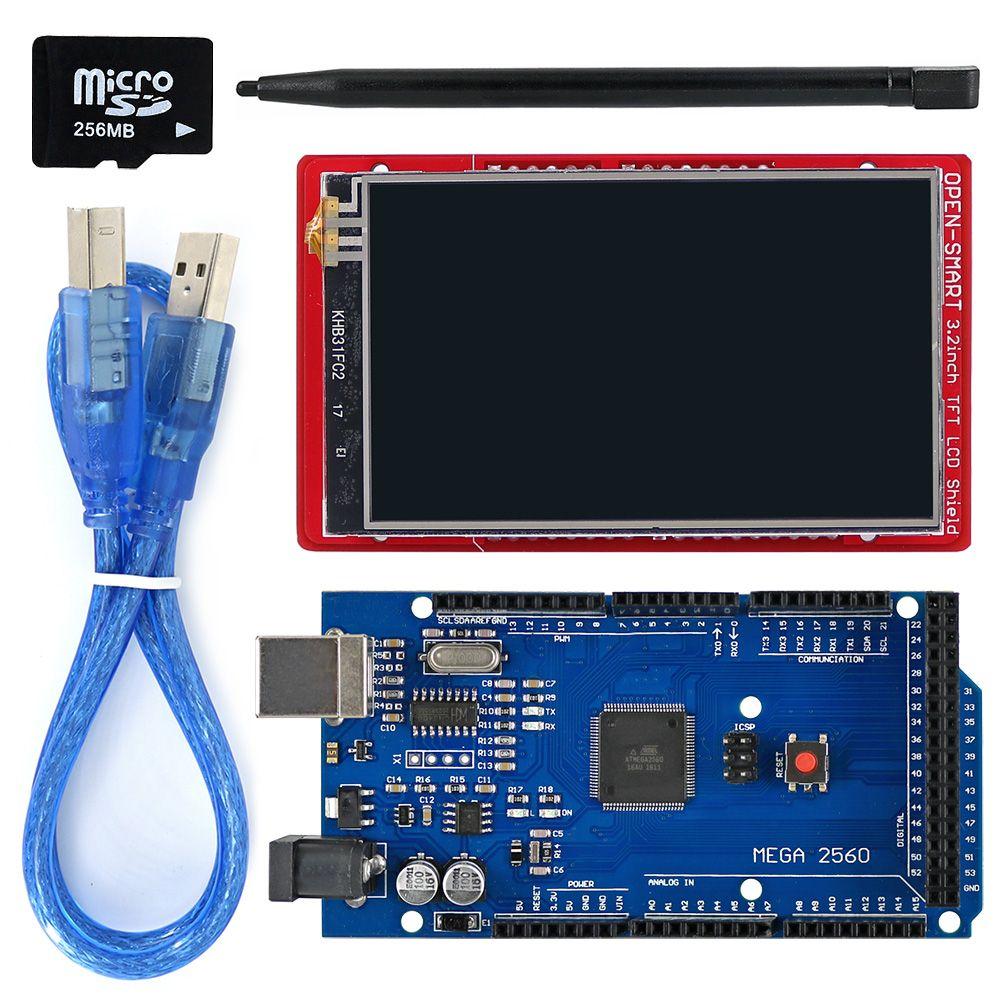 3.2 pouces TFT LCD module d'affichage écran tactile Kit de protection capteur de température à bord + stylo tactile/carte TF/Mega2560 pour Arduino