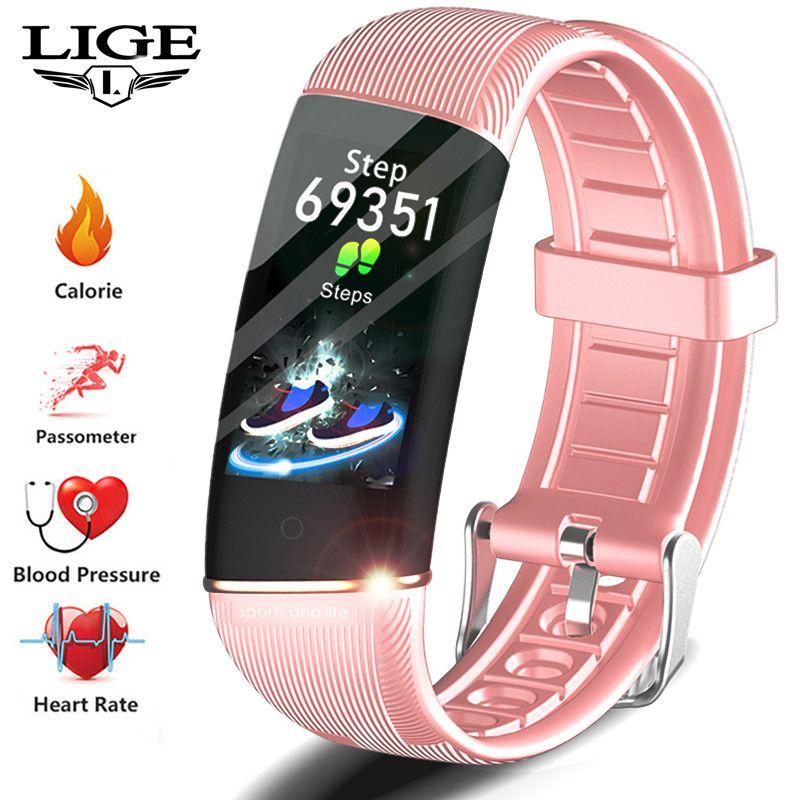 LIGE Smart Uhr Frauen Sport Gesundheit Smart Armband Blutdruck Herz Rate Monitor Aktivität Fitness Tracker Für Paar Uhren