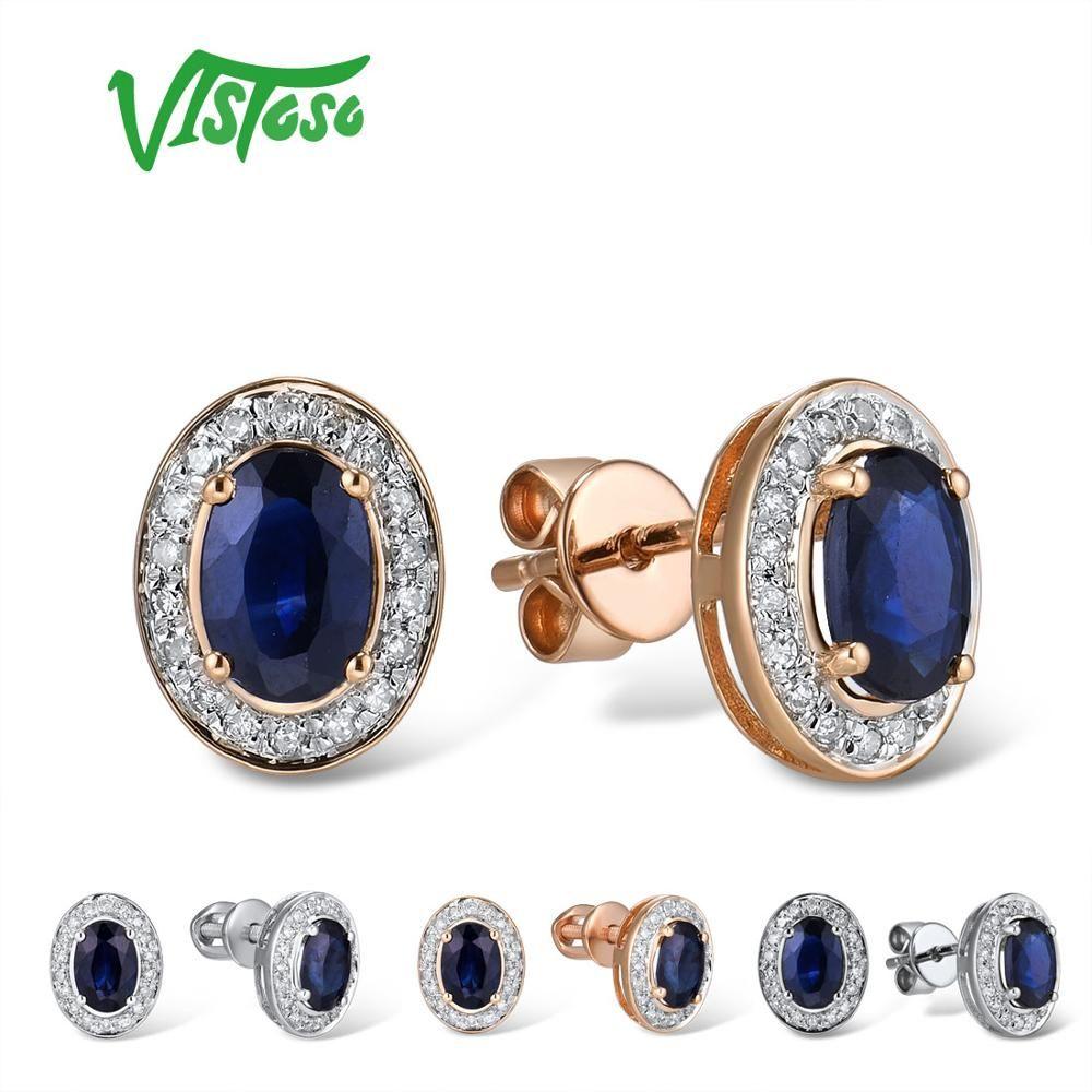 VISTOSO Reine 14K 585 Rose/Weiß Gold Ohrringe Stud Für Frauen Elegante Blaue Saphir Funkelnden Diamant Einzigartige Trendy feine Schmuck