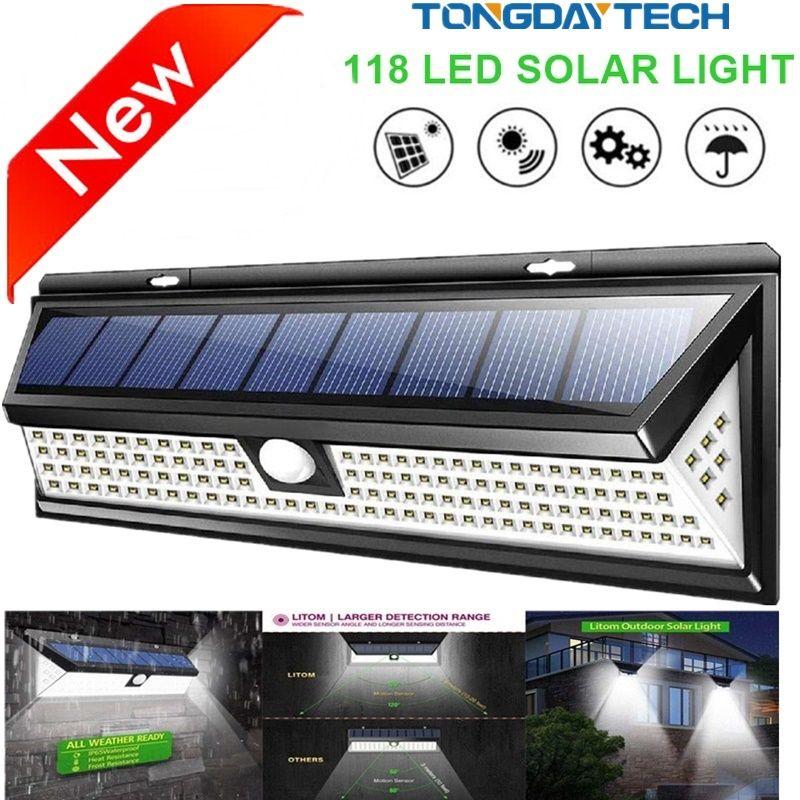 Lampe solaire 118 LED PIR capteur de mouvement lampe à l'extérieur IP65 étanche solaire jardin lumières d'urgence sécurité lumière solaire applique murale