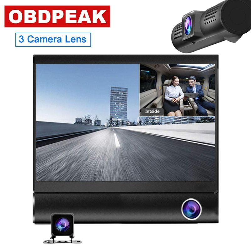 Dash Cam 4.0 pouces 3 caméra 3 voies lentille voiture DVR enregistreur vidéo HD double lentille DVR avec vue arrière caméra voiture enregistreur automatique Dvrs