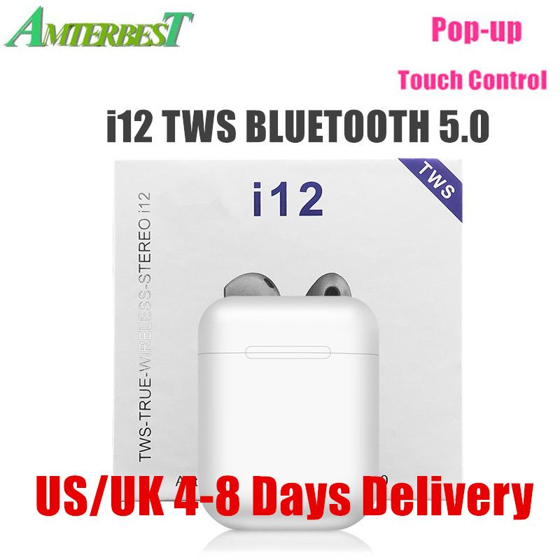AMTERBEST i12 TWS Pop Up Portable Wireless Bluetooth Earphones Touch Control Headsets Stereo Earbuds Pk I60 I30 for Smartphones