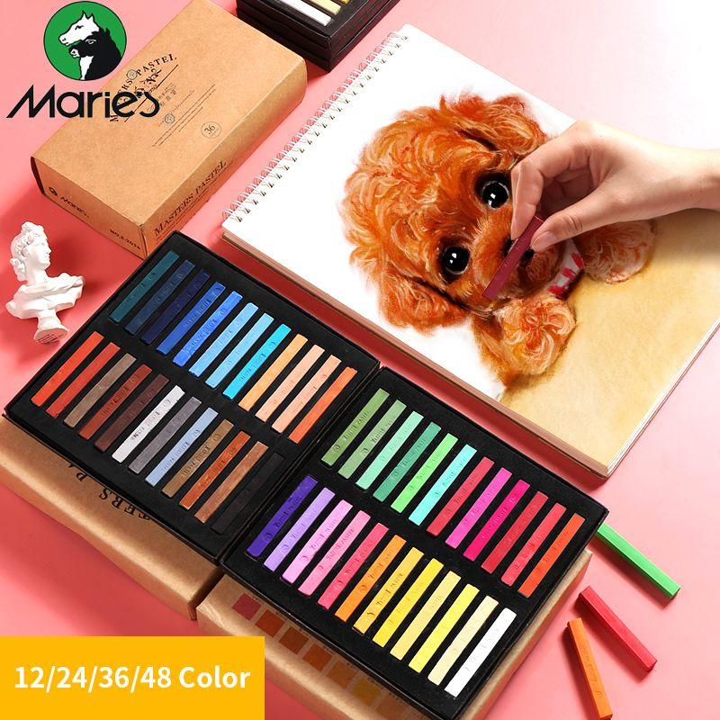 Marie's 12/24/36/48 couleurs peinture Crayons doux Pastel Art dessin ensemble craie couleur Crayon brosse pour papeterie Art fournitures