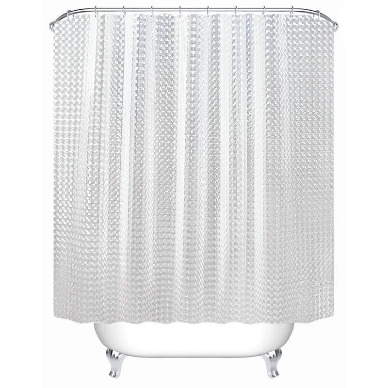 SDARISB Plastic PEVA 3d Waterproof Shower Curtain Transparent White Clear Bathroom Curtain Luxury Bath Curtain With 12pcs Hooks