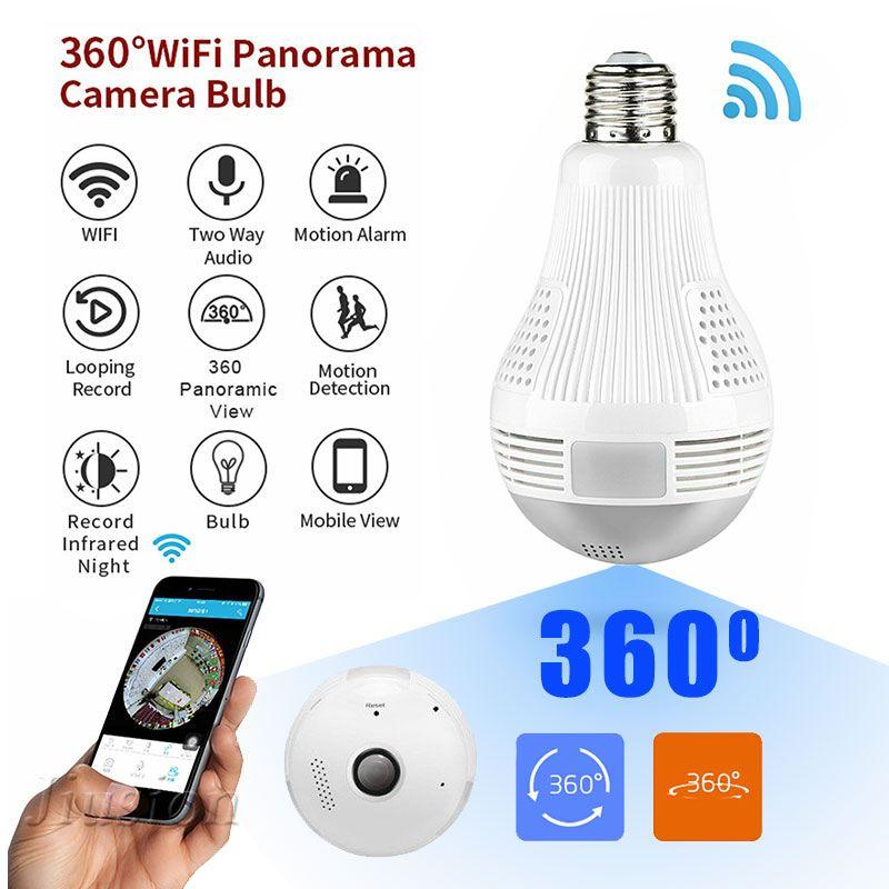 360 degrés WiFi ampoule Mini caméra 960P HD CCTV panoramique Vision nocturne détection de mouvement Surveillance à domicile moniteur à distance Micro Cam