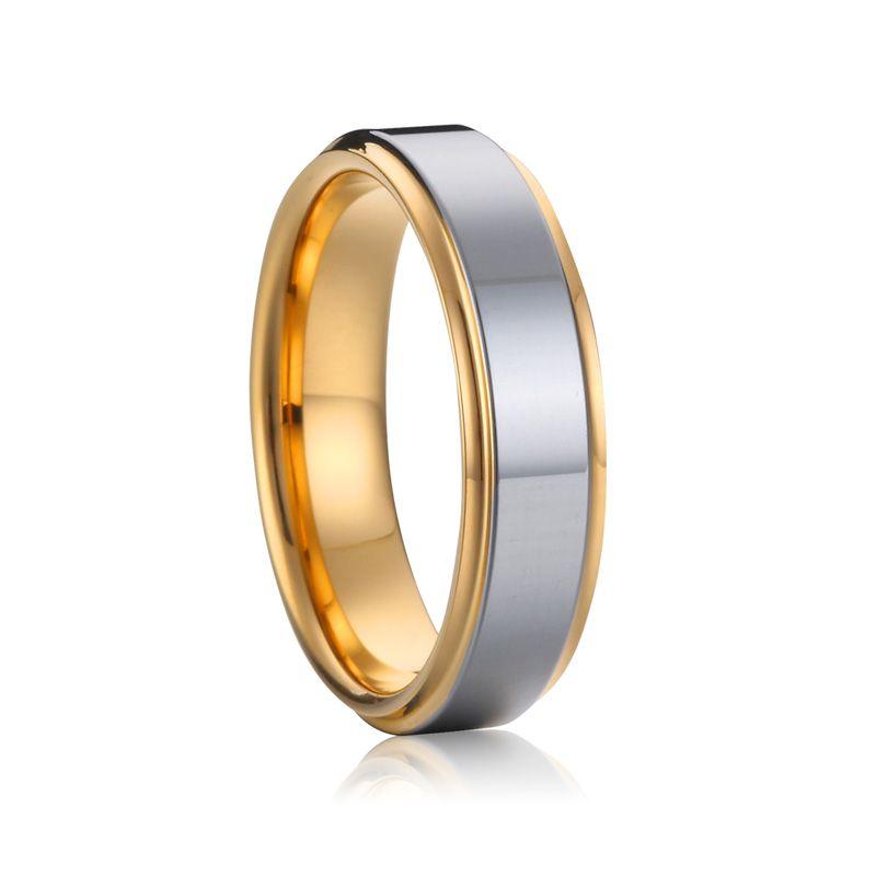 Grande taille USA 7 à 15 haute qualité 5mm hommes et femmes couleur or jaune et argent santé pur titane anneaux de mariage