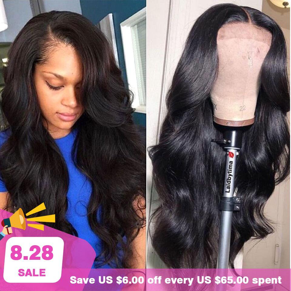 180% 250% perruque de cheveux humains avant dentelle 13X4 pré plumé Non Remy brésilien vague de corps perruque avant en dentelle avec des cheveux de bébé pour les femmes noires