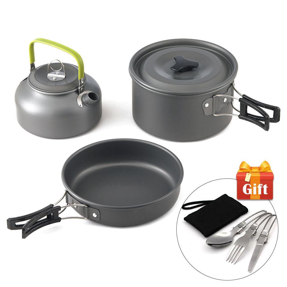 Ultra-léger en alliage d'aluminium Camping ustensiles de cuisine en plein air cuisson théière pique-nique vaisselle marmite poêle 3 pièces/ensemble