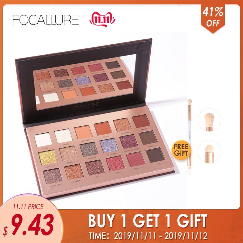 FOCALLURE 18 couleurs paillettes ombre à paupières crème douce poudre miroitant Pigment Palette cosmétiques paillettes ombre à paupières maquillage beauté