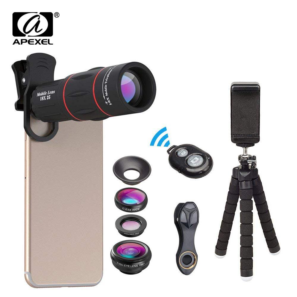 APEXEL Kit de lentilles de téléphone Fisheye grand Angle macro 18X lentille de télescope téléobjectif pour iphone xiaomi samsung galaxy téléphones android