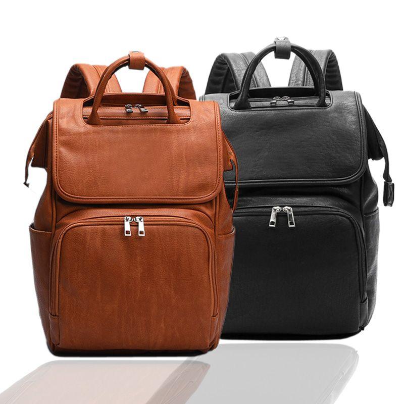 Nouveau unisexe mode qualité PU cuir bébé couches sac sacs à dos maternité matelas à langer poussette sangles bébé sacs étanche à l'eau