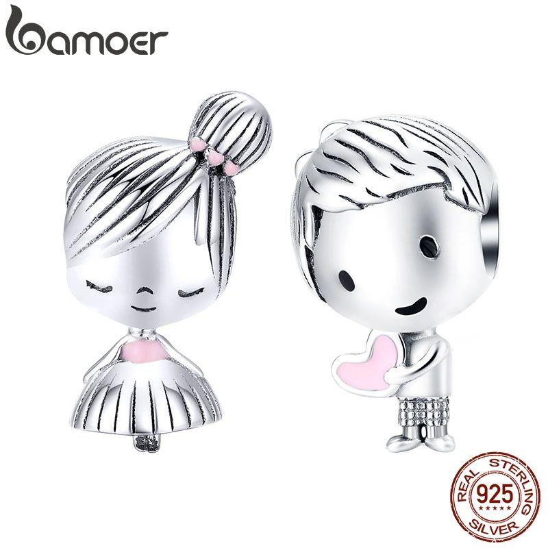Bamoer garçon et fille breloque pour Original argent 925 Bracelet véritable 925 en argent Sterling perles en métal Valentine cadeaux SCC1334