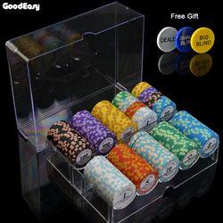 100/200 Buah Chip Poker Set dengan Kotak 14G Tanah Liat/Keramik Chip Set Texas Hold'em Ept PokerStars chip Poker Kasino Koin