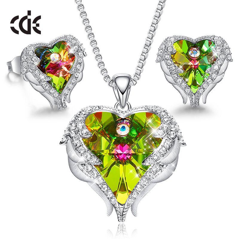 Ensemble de bijoux pour femmes CDE orné de cristaux ensemble de boucles d'oreilles collier aile d'ange cadeau de saint valentin