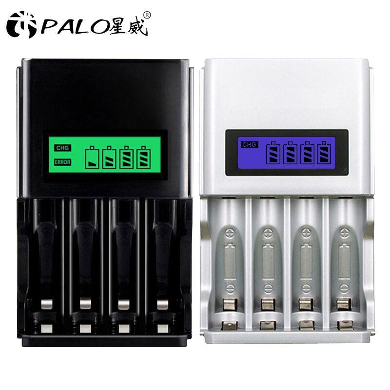 PALO 100% Original 4 fentes LCD affichage chargeur de batterie intelligent pour AA AAA batterie Rechargeable 1.2V NI-MH NI-CD batteries